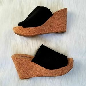 Lucky Brand cork mule wedges black stretch fabric